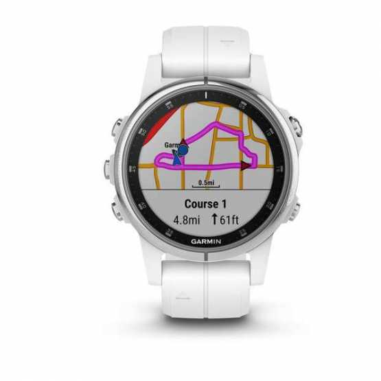 Часы для мультиспорта Garmin Fenix 5S Plus Sapphire, White with Carrera White Band (010-01987-01)
