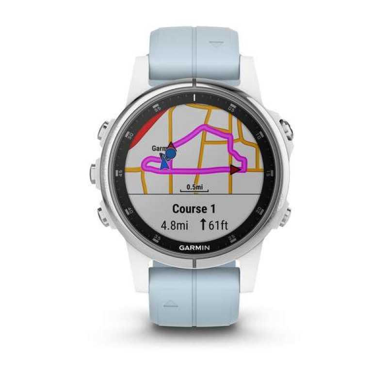 Часы для мультиспорта Garmin Fenix 5S Plus White with Sea Foam Band (010-01987-23)