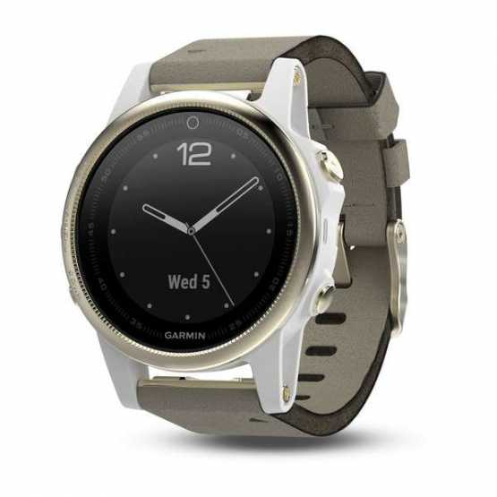 Часы для мультиспорта Garmin Fenix 5S Champagne Sapphire with Gray Suede Band (010-01685-13)