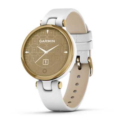 Garmin Lily Light Gold Bezel with White Case and Italian Leather Band