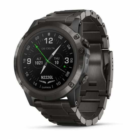 Елегантні авіаційні годинник Garmin D2 Delta PX Sapph Carbon Gray DLC Ti w/DLC Ti Band GPS,EMEA (010-01989-31)