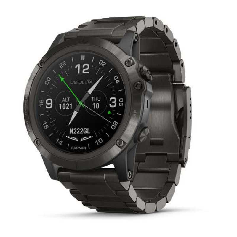 Элегантные авиационные часы Garmin D2 Delta PX Sapph Carbon Gray DLC Ti w/DLC Ti Band GPS,EMEA (010-01989-31)