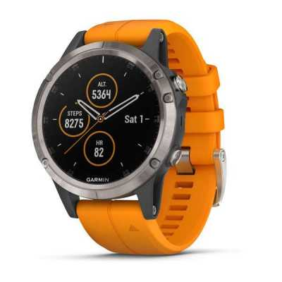 Garmin Fenix 5 Plus Sapphire, Titanium with Solar Flare Orange Band