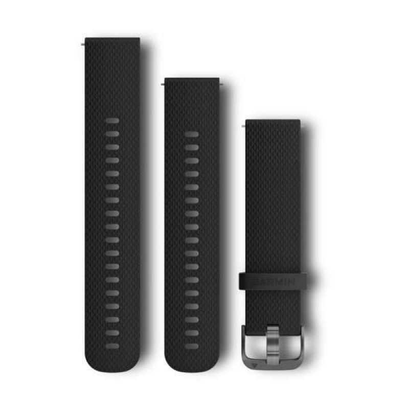 Ремешок для Garmin Forerunner 645 Black Silicone Band with Slate Hardware (010-12561-03)
