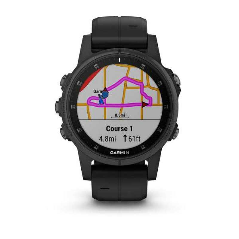 Годинник для мультиспорту Garmin Fenix 5S Plus Sapphire, Black with Black Band (010-01987-03)