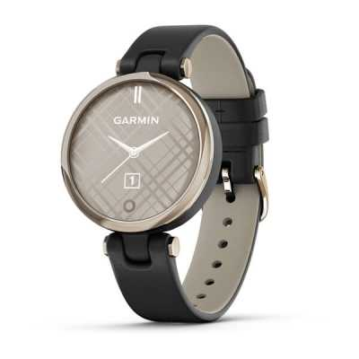 Garmin Lily Cream Gold Bezel with Black Case and Italian Leather Band