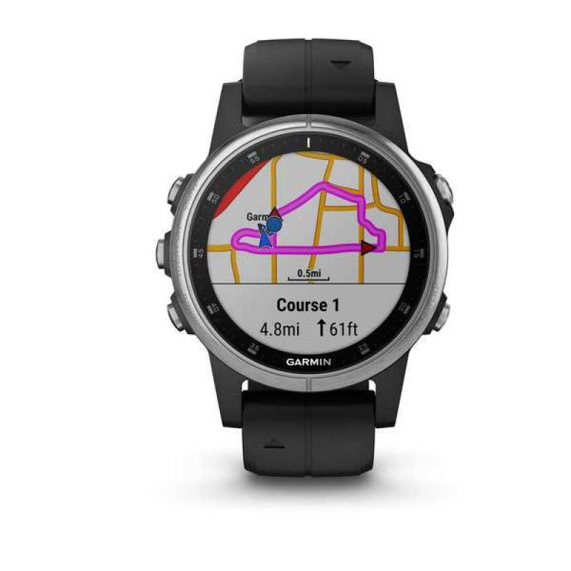 Годинник для мультиспорту Garmin Fenix 5S Plus Silver with Black Band (010-01987-21)