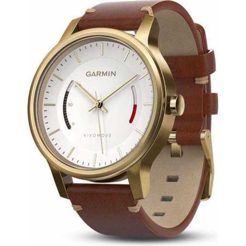 Garmin Vivomove Premium, Gold-Tone Steel with Leather Band